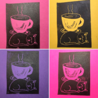 tiny coffee cat on colored paper example