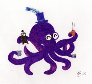An octopus in a top hat with French press coffee, a cup, cream, and sugar