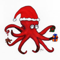 picture of holiday octopus card