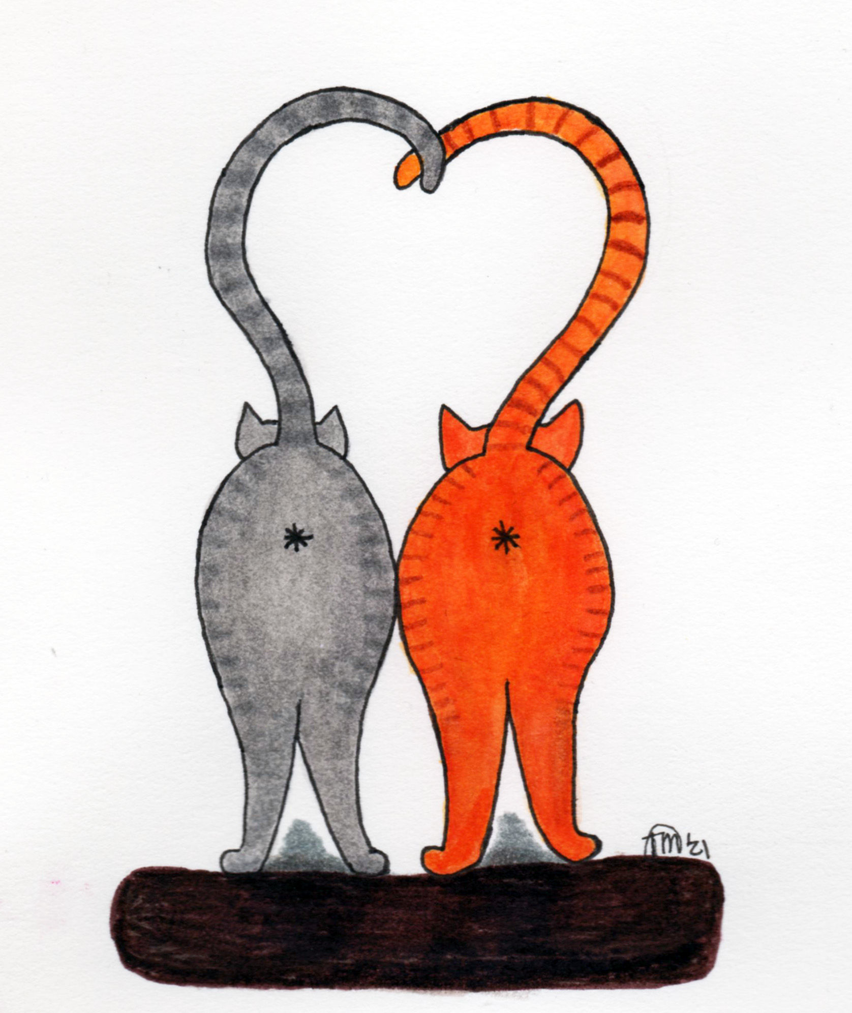 Two tabby cat butts with their tails forming a heart.