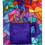 picture of a coffee mug done in a stained glass window pattern in watercolor.