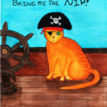 a picture of a mixed media print of a cat in a pirate hat on a ship demanding cat nip