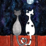 picture of a mixed media print of two cats on top of a fence looking at the moon with their tails entwined in a heart shape