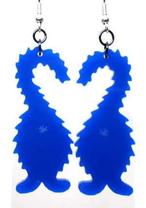 picture of fuzzy but cat earrings in blue