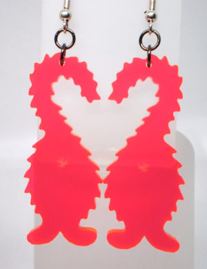 picture of hot pink fuzzy cat butt earrings
